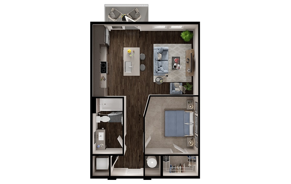 A1p - 1 bedroom floorplan layout with 1 bath and 630 square feet. (3D)