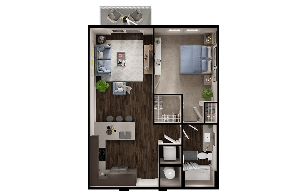 A2p - 1 bedroom floorplan layout with 1 bath and 663 square feet. (3D)