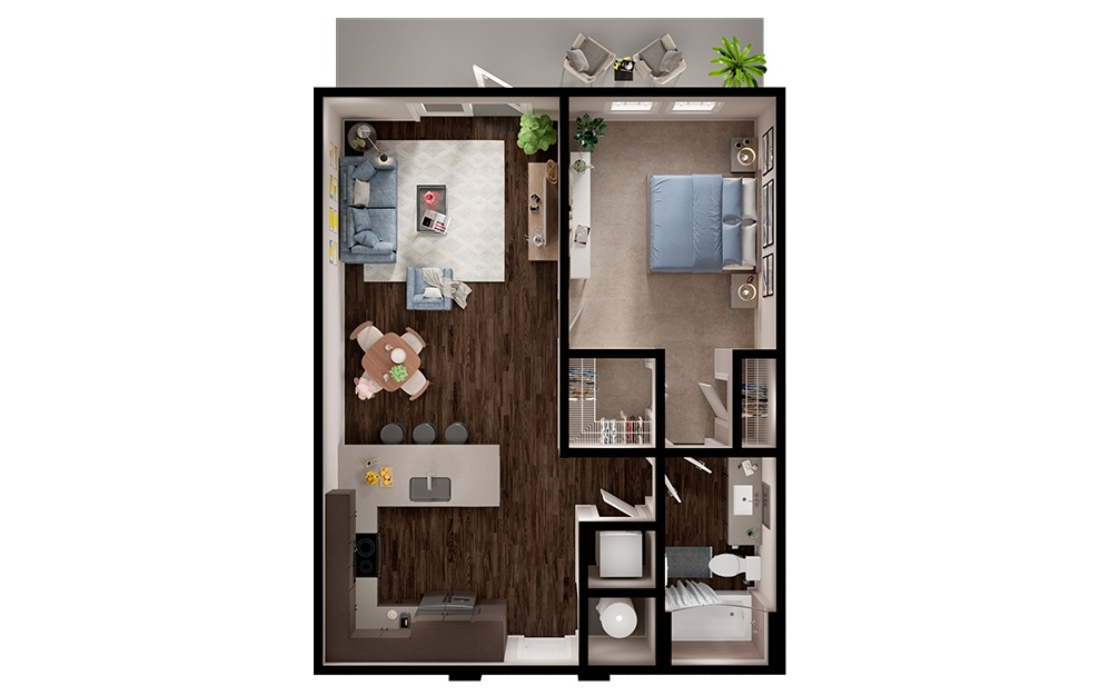 A3p - 1 bedroom floorplan layout with 1 bath and 745 square feet. (3D)