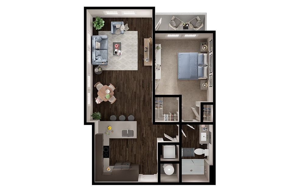 A4p - 1 bedroom floorplan layout with 1 bath and 750 square feet. (3D)