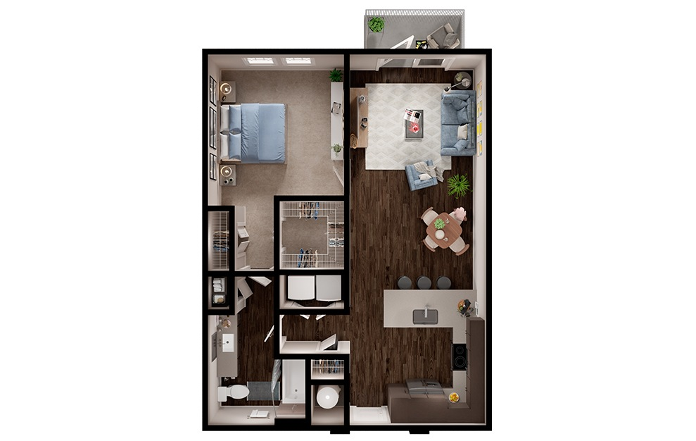 A5p - 1 bedroom floorplan layout with 1 bath and 796 square feet. (3D)