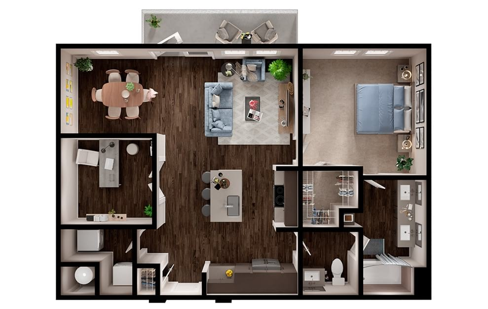 A7 - 1 bedroom floorplan layout with 1 bath and 988 square feet. (3D)