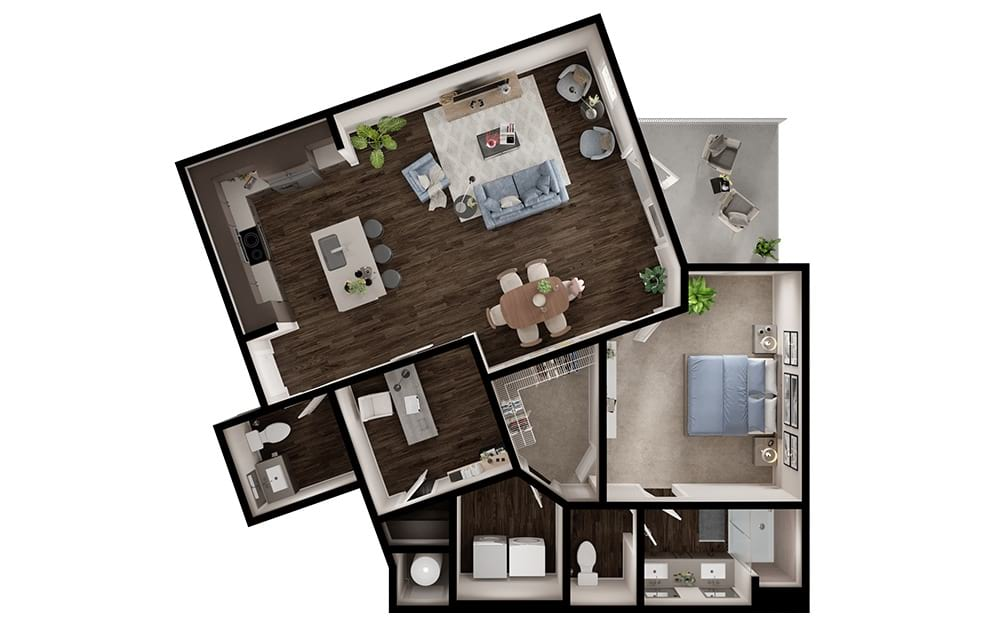 A8 - 1 bedroom floorplan layout with 1 bath and 1061 square feet. (3D)