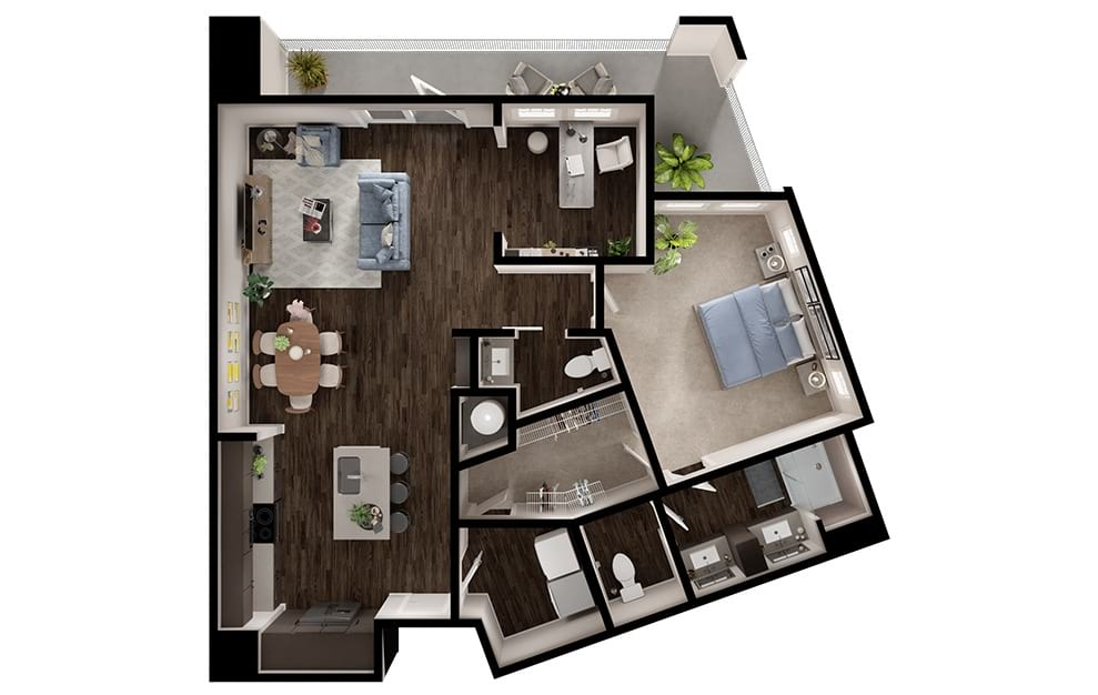 A9 - 1 bedroom floorplan layout with 1 bath and 1063 square feet. (3D)
