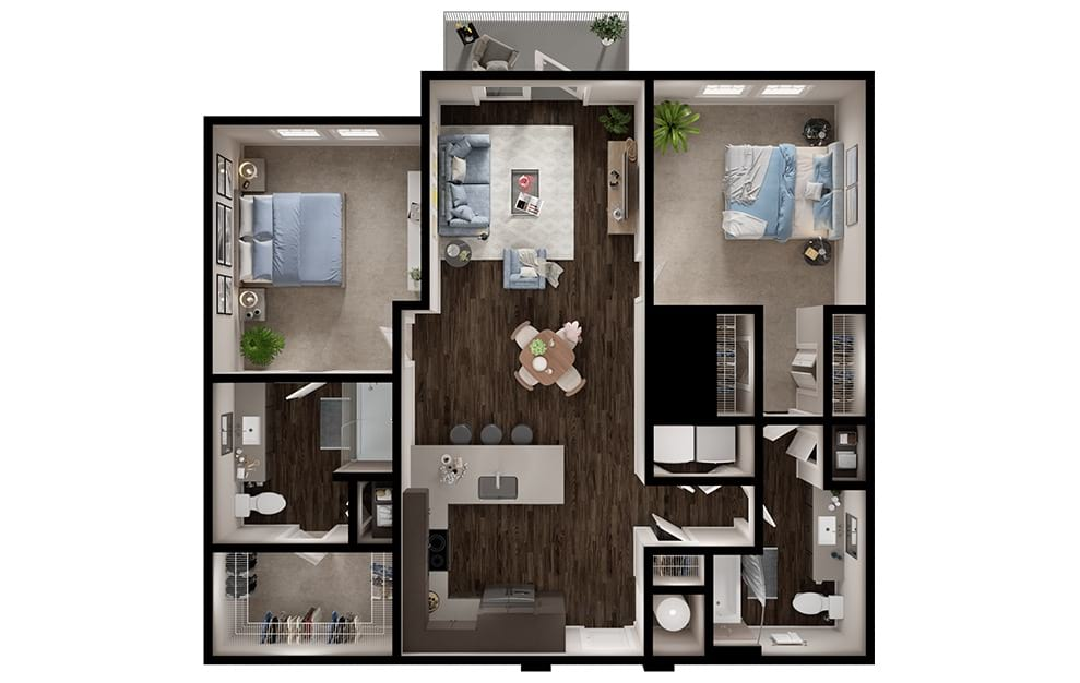 B1 - 2 bedroom floorplan layout with 2 baths and 1138 square feet. (3D)