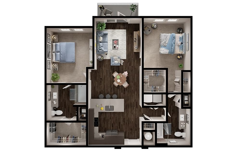B2 - 2 bedroom floorplan layout with 2 baths and 1157 square feet. (3D)