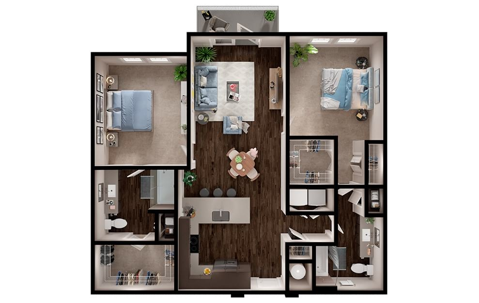 B3 - 2 bedroom floorplan layout with 2 baths and 1157 square feet. (3D)