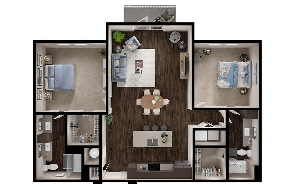 B4 - 2 bedroom floorplan layout with 2 baths and 1270 square feet. (3D)