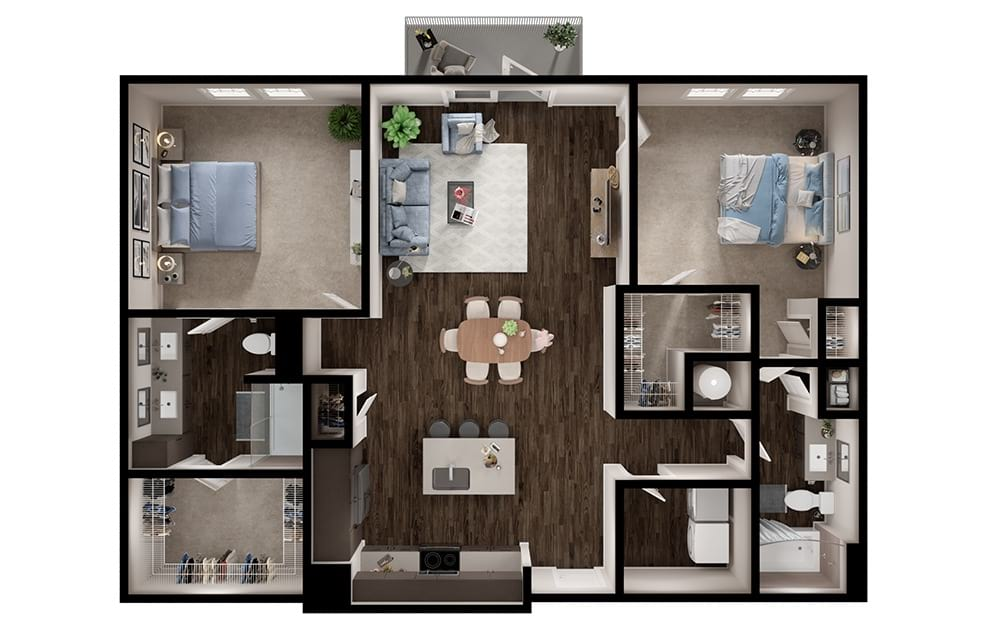 B5 - 2 bedroom floorplan layout with 2 baths and 1284 square feet. (3D)
