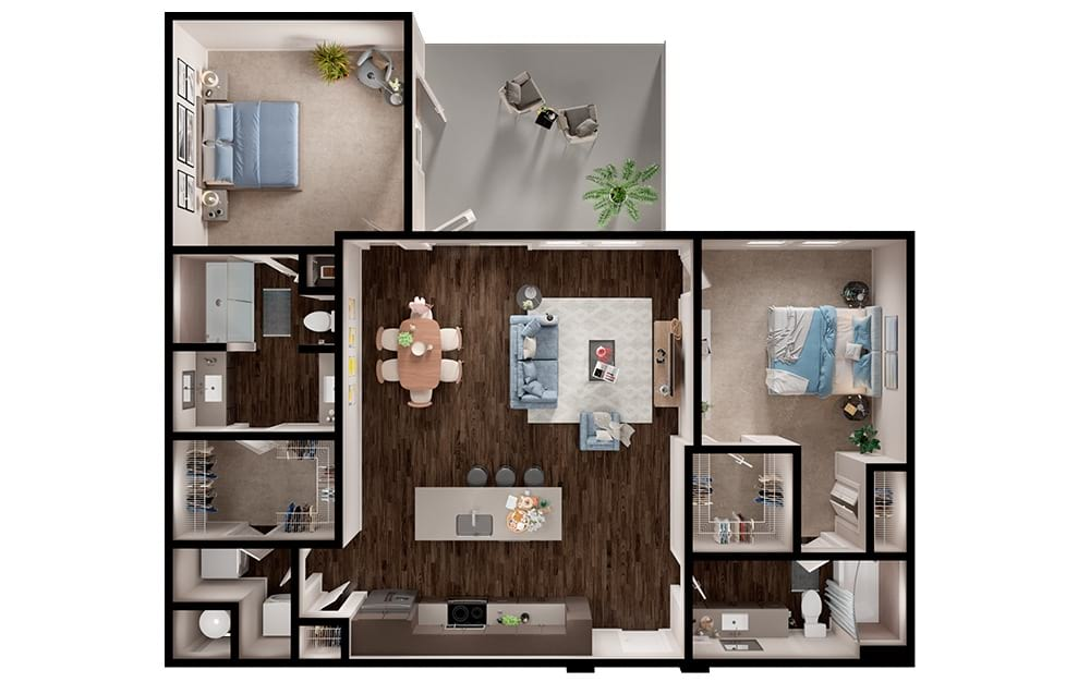 B6 - 2 bedroom floorplan layout with 2 baths and 1315 square feet. (3D)