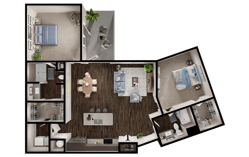 B7 - 2 bedroom floorplan layout with 2 baths and 1325 square feet. (3D)