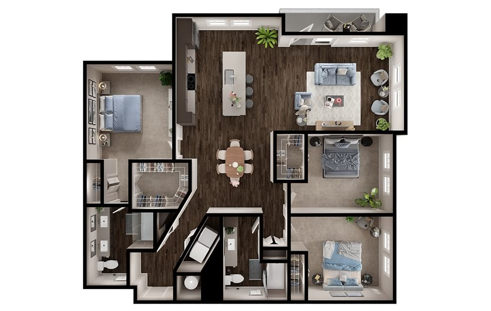 C1 - 3 bedroom floorplan layout with 2 baths and 1574 square feet. (3D)